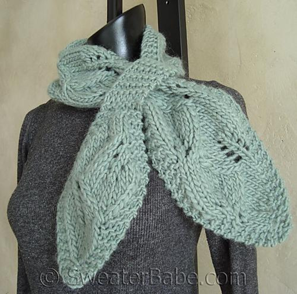 One Skein Knit Patterns : #95 Falling Leaves One-Skein Scarf Knitting pattern by SweaterBabe.com Knit...