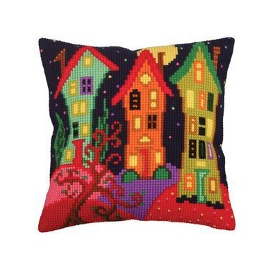 Collection D'Art Lodges Under the Moon Cross Stitch Cushion Kit