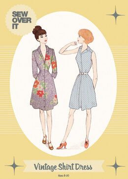 Sew Over It Vintage Shirt Dress - Downloadable PDF, Size UK 8-20