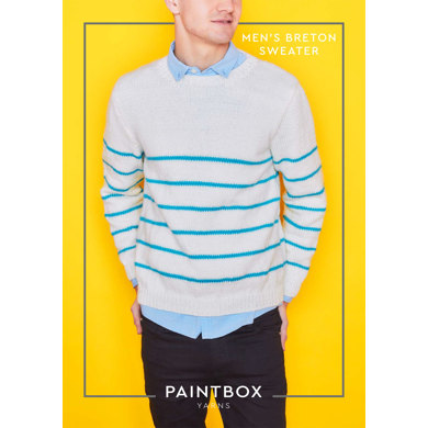 """Breton Mens Jumper"" : Jumper Knitting Pattern in Paintbox Yarns Aran Yarn"