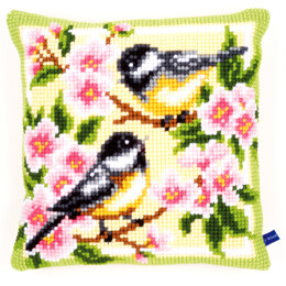 Vervaco Birds and Blossoms Cushion Front Chunky Cross Stitch Kit - 40cm x 40cm