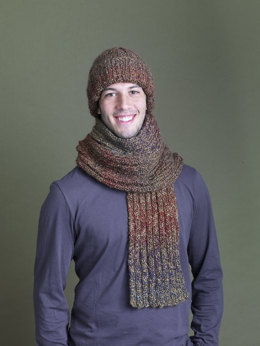 Ramstar Falls Hat And Scarf in Lion Brand Homespun - 90333AD