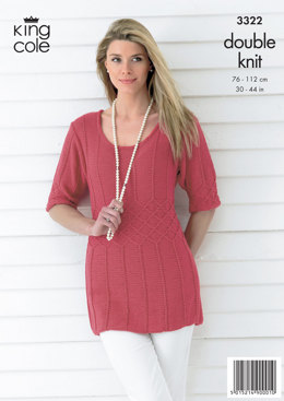 53d07be985e270 Ladies  Top and Cardigan in King Cole Bamboo Cotton DK - 3322