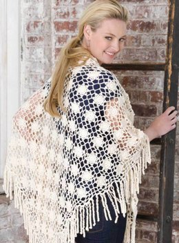 Year 'Round Shawl in Red Heart Luster Sheen Solids - LW2610 - Downloadable PDF