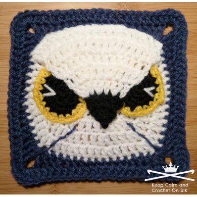 Midnight Eagle Owl Afghan Square