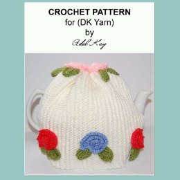 Almha Vintage Roses Style Tea Cosy Cozy Crochet Pattern by Adel Kay