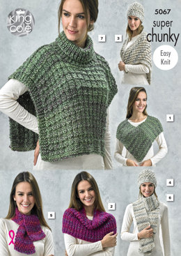 Wraps, Cape, Hat, Scarves Tabbard in King Cole Gypsy Super Chunky - 5067 - Leaflet
