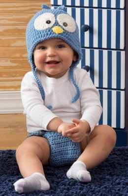 Cutie Blue Bird Hat & Diaper Cover in Red Heart With Love Solids - LW4295