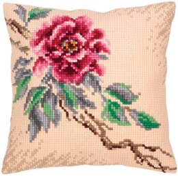 Collection D'Art Tender Peony Cross Stitch Cushion Kit - 40cm x 40cm