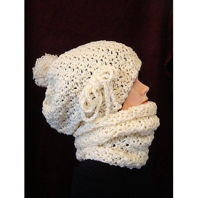 610 SLOUCHIE HAT AND COWL set, 5 yrs. to adult