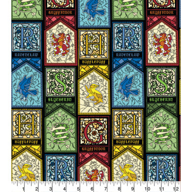 Visage Textiles Licensed - Harry Potter Stained Glass Houses