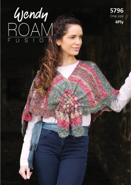 Lace Shawl with Woven Front in Wendy Roam Fusion 4 Ply - 5796