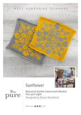 Bo Peep Pure Botanical Garden Blanket KAL - Sunflower in West Yorkshire Spinners - WYSKAL08S - Downloadable PDF
