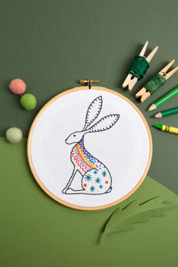 Hawthorn Handmade Hare Contemporary Embroidery Kit