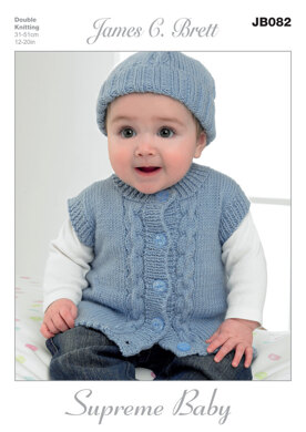 Hat, Mittens, Cardigan and Waistcoat in James C. Brett Supreme Baby DK - JB082