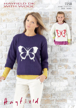 Girl's & Woman's Sweaters in Hayfield DK with Wool - 7258 - Downloadable PDF