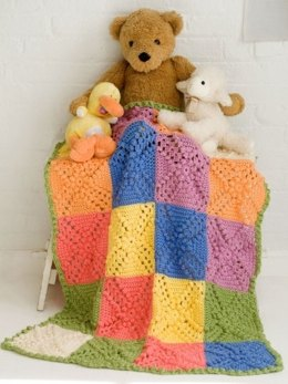 Bobble Blocks Baby Blanket in Caron Simply Soft Collection