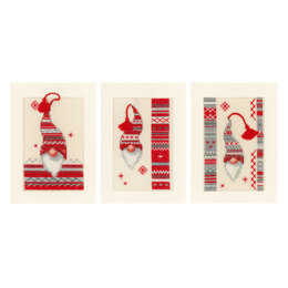 Vervaco Christmas Elf Cross Stitch Cards Kit (Set of 3) - 10.5cm x 15cm