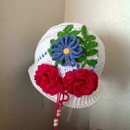 Rose in the Garden Crochet Summer Hat