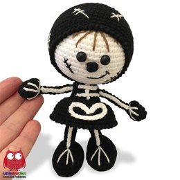 159 Doll in a Halloween Skeleton outfit