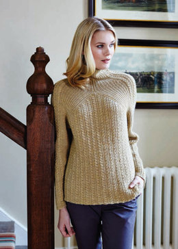"""Cable & Rib Jumper"" - Jumper Knitting Pattern For Women in Debbie Bliss Blue Faced Leicester DK - BFLDK02"