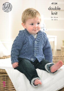 Waistcoat, Cardigan Slipover and Sweater in King Cole Baby DK - 4154 - Downloadable PDF