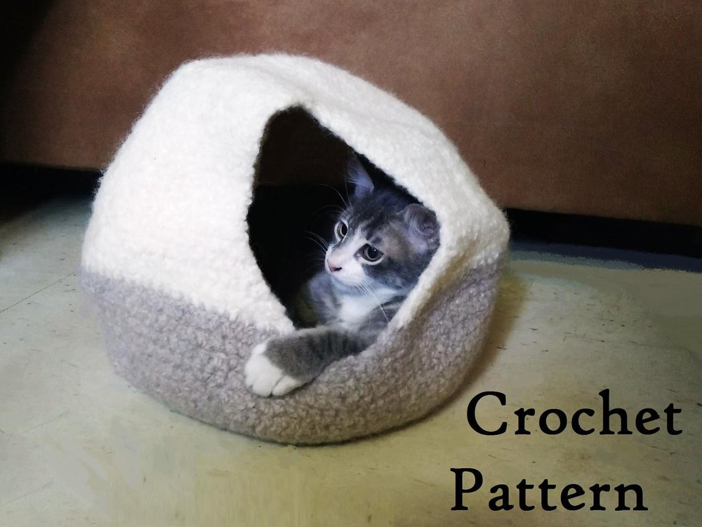 Felted Cat Cavebed Crochet Pattern By Fromwayupnorth