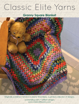 Granny Square Blanket in Classic Elite Yarns Liberty Wool Solids - Downloadable PDF