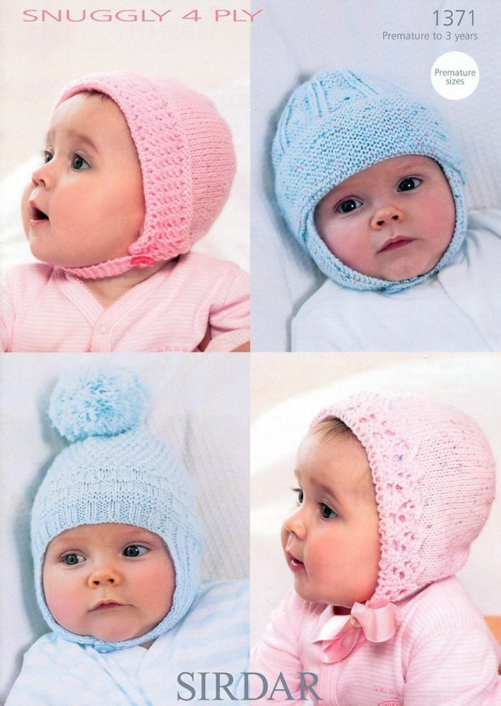 Knitting Patterns For Baby Girl Bonnets : Babys Bonnets and Helmets in Sirdar Snuggly 4 Ply - 1371