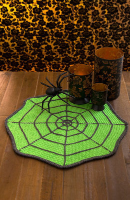 Spider Web Table Mat in Red Heart Super Saver Economy Solids - LW4922 - Downloadable PDF