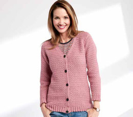 Adult's Crochet V-Neck Cardigan in Caron Simply Soft - Downloadable PDF