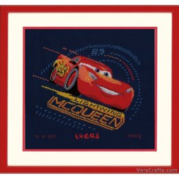 Vervaco Screeching Tyres Cars Birth Record Cross Stitch Kit - PN-0167543