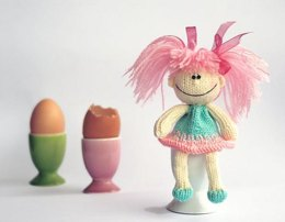 Funny small doll with pink hair for keeping warm breakfast egg