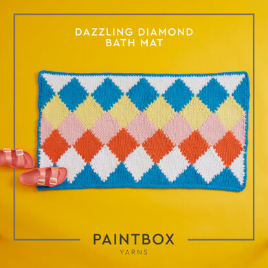 """Dazzling Diamond Bath Mat"" - Free Bath Mat Knitting Pattern For Home in Paintbox Yarns Recycled Big Cotton by Paintbox Yarns"
