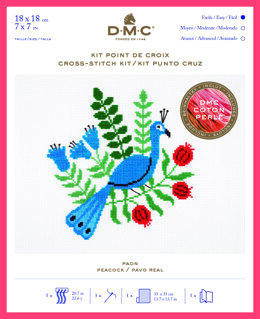 DMC Peacock (Coton Perlé) Cross Stitch Kit