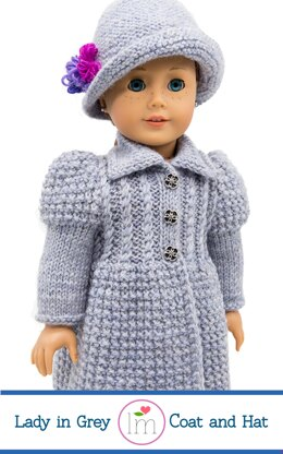 Lady in Grey Coat for 18 inch Dolls, Doll Clothes Knitting Pattern