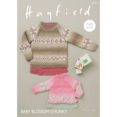 Sweaters with Bell and Rib Edging in Hayfield Baby Blossom Chunky - 4715 - Downloadable PDF