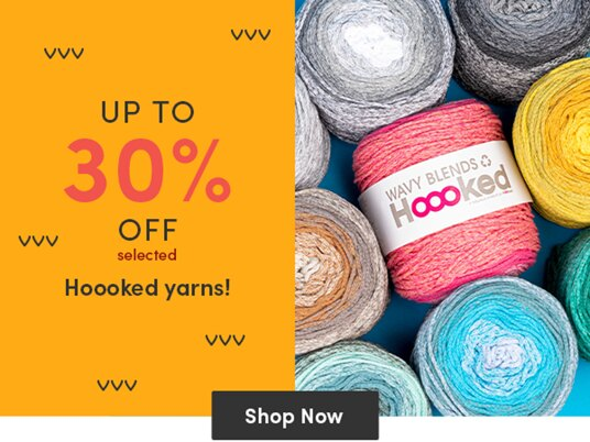 Up to 30 percent off selected Hoooked yarns!