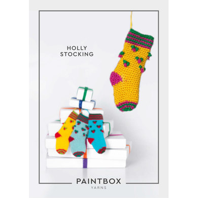 """""""Holly Stocking"""" : Stocking Crochet Pattern for Christmas in Paintbox Yarns DK 