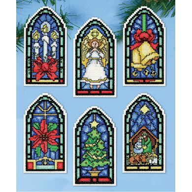 Design Works Stained Glass Christmas Ornaments Cross Stitch Kit - 5cm x 10cm