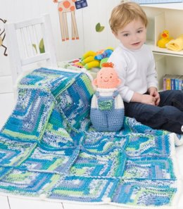 Baby Doll Toy & Blanket in Red Heart Stripes and Super Saver Jumbo - LW2476