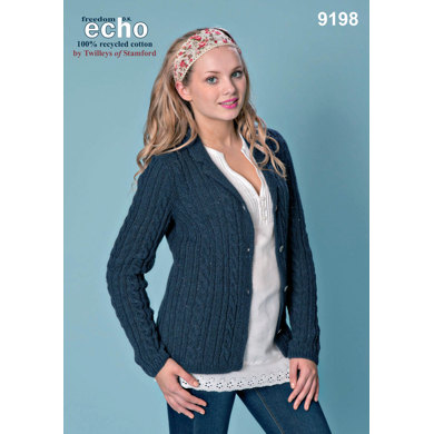 Cabled Jacket in Twilleys Freedom Echo DK - 9198