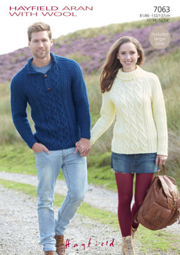 Cowl Neck and Stand Up Neck Sweaters in Hayfield Aran with Wool 100g - 7063 - Downloadable PDF