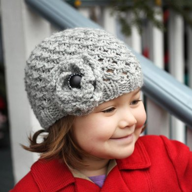 Mia Chunky Lace Hat With Flower Knitting Pattern By Julie Taylor