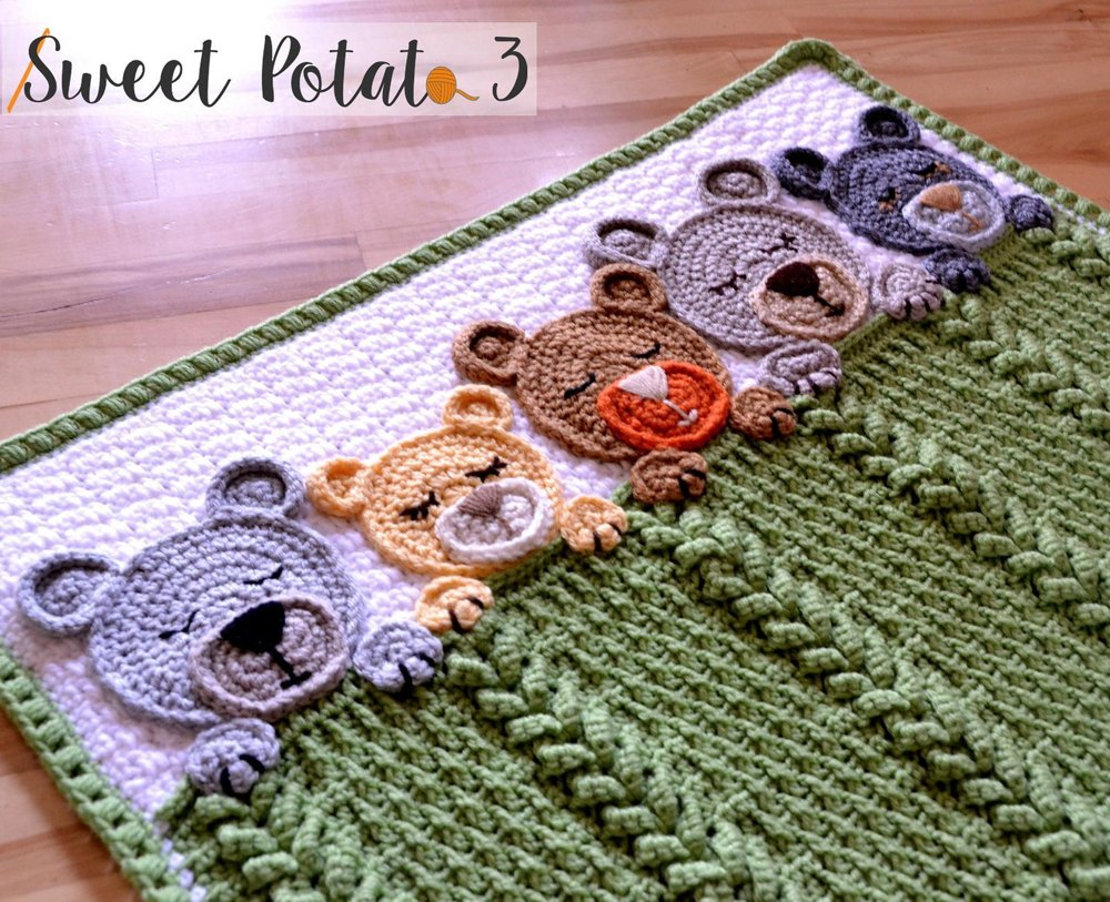 Sleep Tight Teddy Bear Blanket / Lovey Crochet pattern by Sweet Potato 3