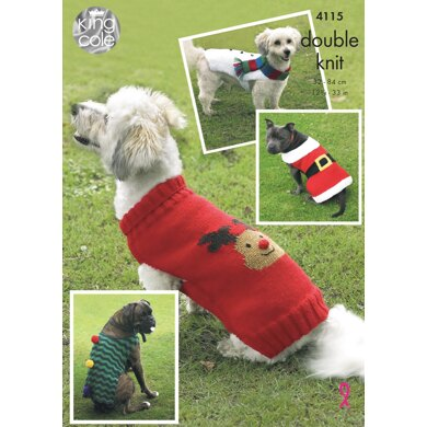 Christmas Dog Coats in King Cole DK - 4115 - Downloadable PDF