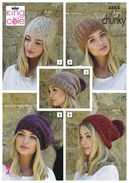 Hats in King Cole Indulge Chunky - 4864 - Downloadable PDF