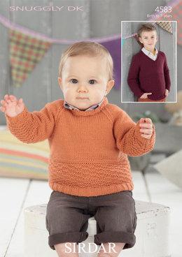 Round Neck and V Neck Sweaters in Sirdar Snuggly DK - 4583