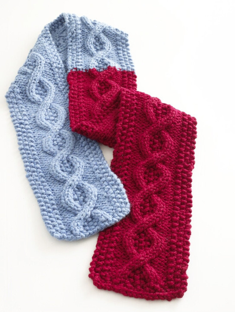 Knitting Patterns Wool Ease Thick Quick : Cable Scarf in Lion Brand Wool-Ease Thick & Quick ...