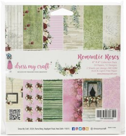 """Dress My Crafts Single-Sided Paper Pad 6""""X6"""" 24/Pkg - Romantic Roses, 12 Designs/2 Each"""